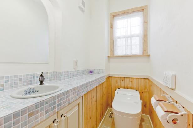 タイツ張りの手洗いを設けたトイレ