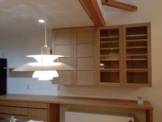 造作収納棚/タモ材柾目