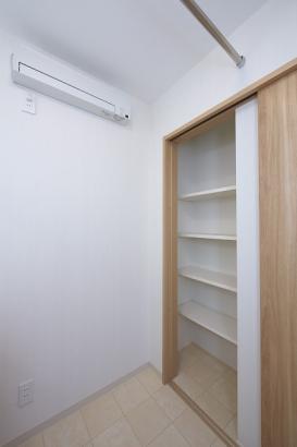 扉を閉めるとあらわれる洗面所収納。