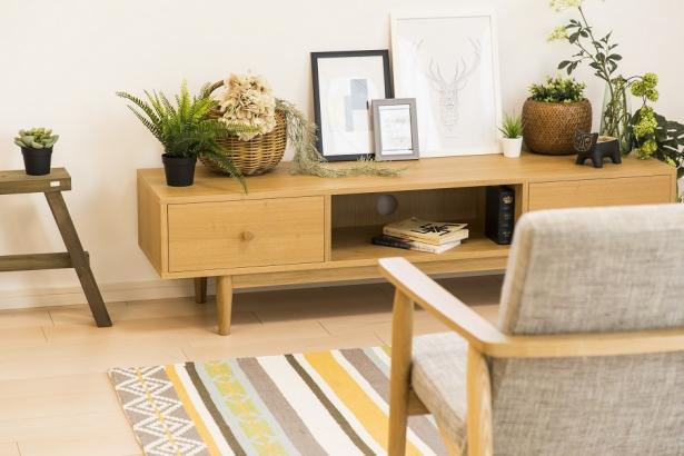 家具や植物にもこだわりを持ったインテリア。