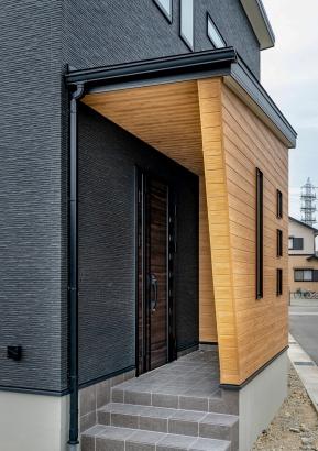 斜線デザインが特徴的な玄関