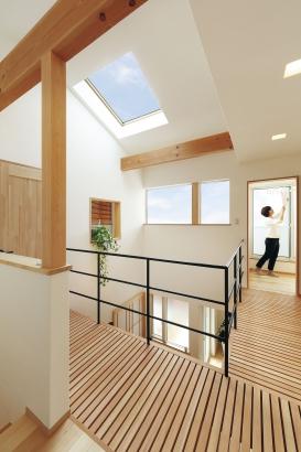 吹き抜け部分には天窓を設置し、室内に光を取りこむ。