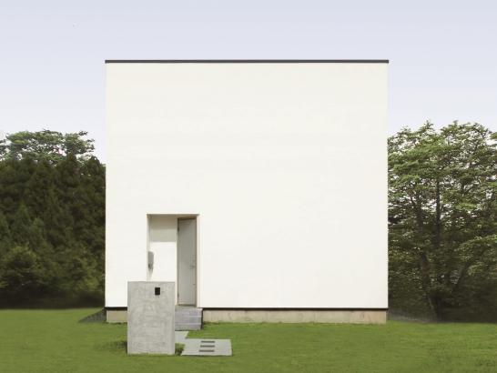 白い家、キューブ、漆喰塗り