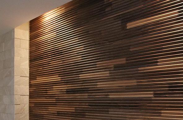 リビング ウッドタイルの壁
